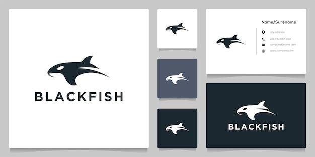 Schwarzer hai fisch fischen logo design isoliert auf weißem hintergrund