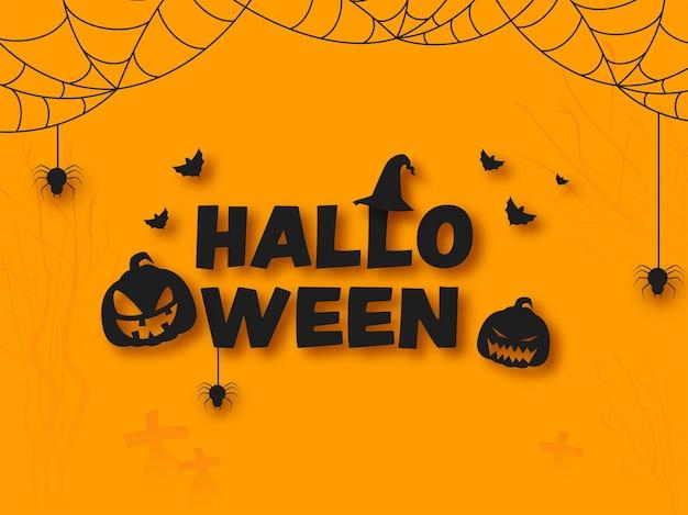 Schwarzer halloween-text mit hexenhut, unheimlichen kürbissen, fliegenden fledermäusen und spinnennetz auf orangem hintergrund.