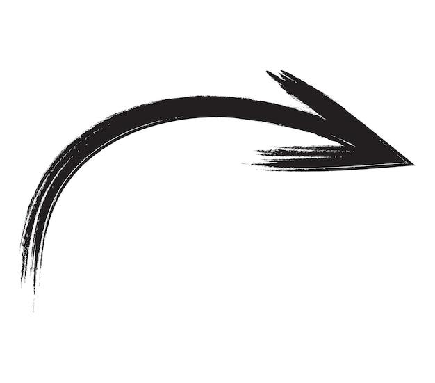 Schwarzer handgezeichneter pinselstrichpfeil isoliert auf weiss. vektor-illustration eps10