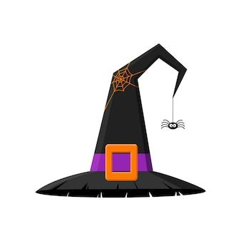 Schwarzer hexenhut mit großem schnallennetz und spinne halloween party kostümelement