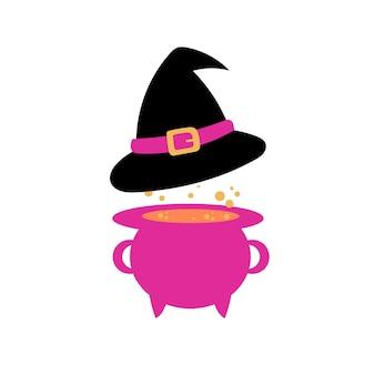 Schwarzer hexenhut und kessel in lila und rosa farben. cartoon-illustration auf weißem hintergrund