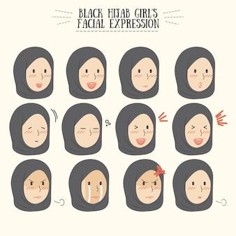 Schwarzer hijab-mädchen-gesichtsausdruck-satz