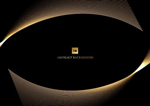 Schwarzer hintergrund der abstrakten goldkurvenlinie glänzender goldener linien
