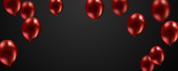 Schwarzer hintergrund der roten ballone