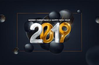 Schwarzer Hintergrund des neuen Jahres 2019