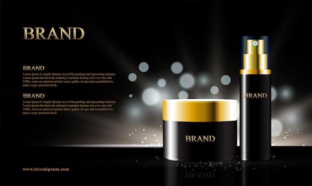 Schwarzer hintergrund für kosmetische produkte mit bokeh
