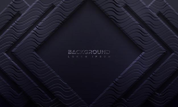 Schwarzer hintergrund gemasert mit art 3d und gewellten linien.