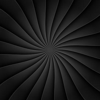 Schwarzer hintergrund im fächer der abstrakten form mit biegelinie für design