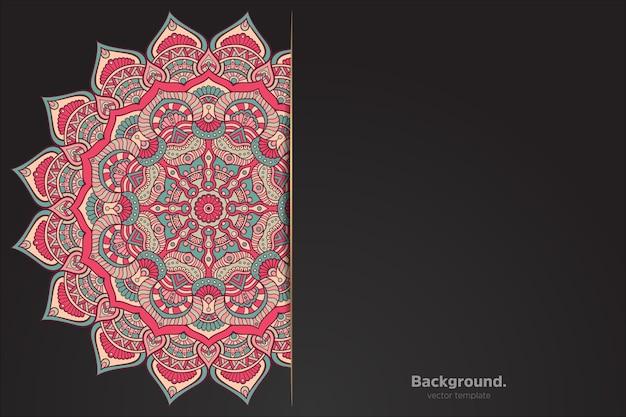 Schwarzer hintergrund mit abstraktem orientalischem mandala