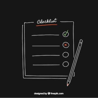 Schwarzer hintergrund mit bleistift und checkliste
