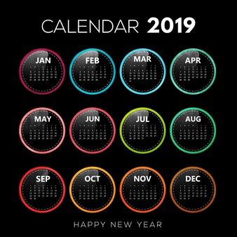 Schwarzer hintergrund mit buntem kalender-design 2019