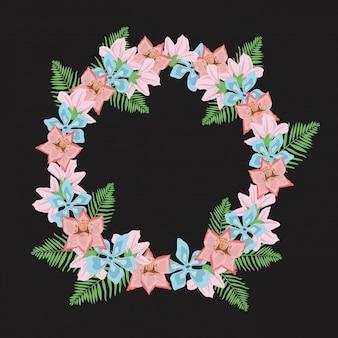 Schwarzer hintergrund mit dekorativer kreisgrenze mit farbpastellblumen und -blättern