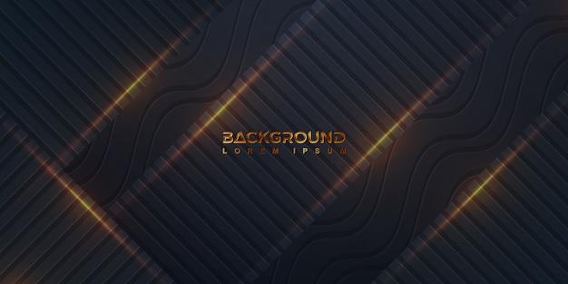 Schwarzer hintergrund mit einer kombination aus geraden linien und wellenlinien