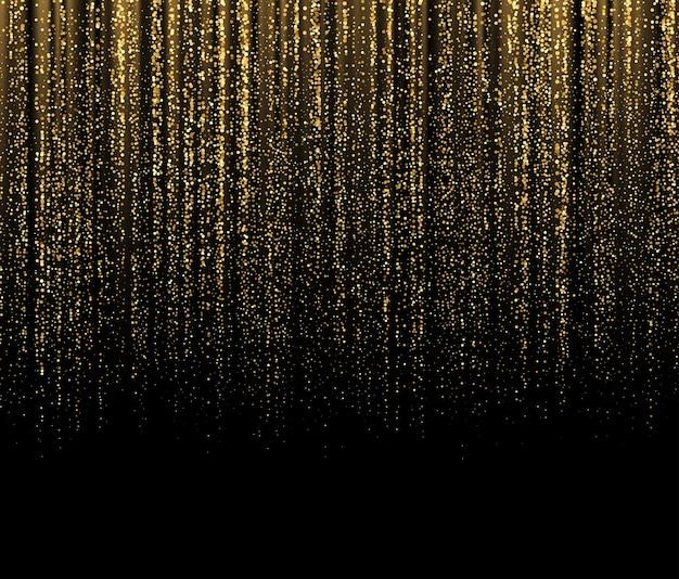 Schwarzer hintergrund mit fallenden goldenen funkeln funkeln. hintergrund für festliches design der dekoration. vektorillustration eps10