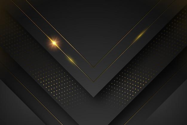 Schwarzer hintergrund mit formen und goldenen linien