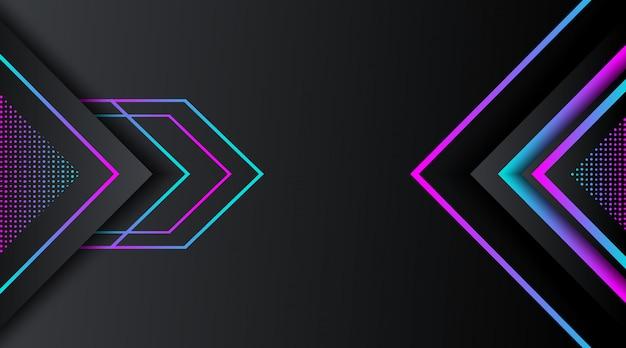 Schwarzer hintergrund mit geometrischer form des steigungsneonfunkelns