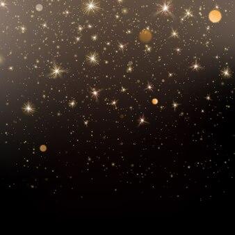 Schwarzer hintergrund mit glitzergold-lichtglanzeffekt.