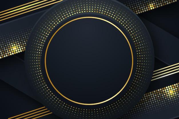 Schwarzer hintergrund mit goldenem kreisförmigem rahmen