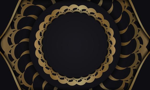 Schwarzer hintergrund mit goldenem mandala-ornament