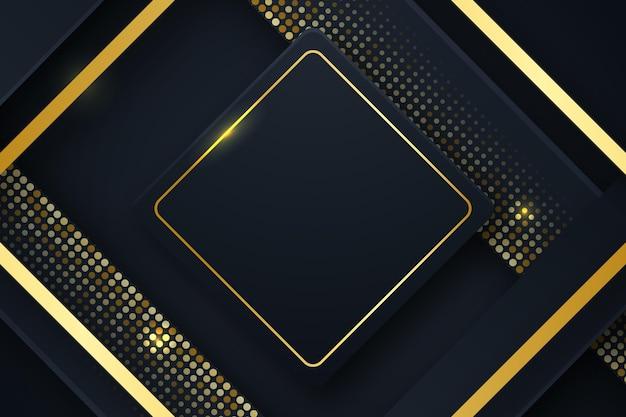 Schwarzer hintergrund mit goldenem quadratischem rahmen