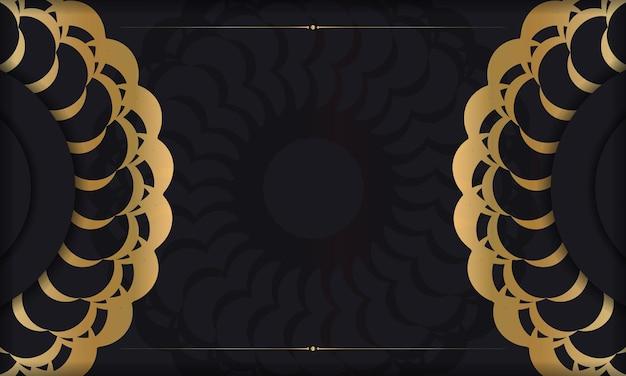 Schwarzer hintergrund mit goldenem vintage-muster