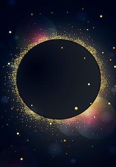 Schwarzer hintergrund mit lichtern, scheinen, serpentin, konfetti, girlanden von laternen.