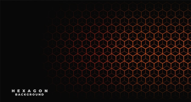 Schwarzer hintergrund mit orange sechseckigem muster