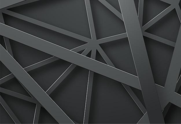 Schwarzer hintergrund mit schwarzen linien in der luft in verschiedenen höhen.