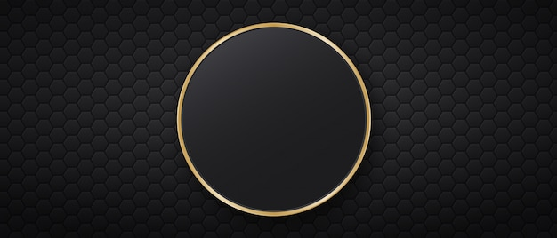 Schwarzer hintergrund mit sechseckigen fliesen und rundem goldenen rahmen