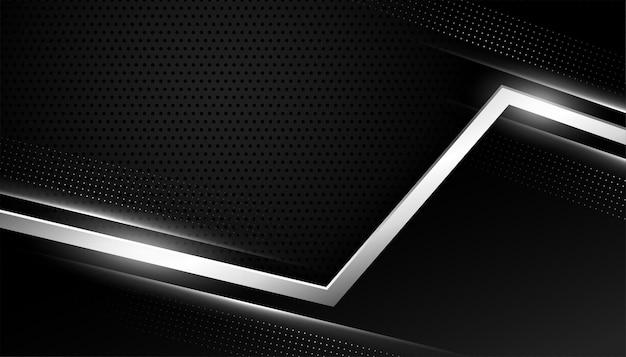 Schwarzer hintergrund mit silbernen geometrischen linien