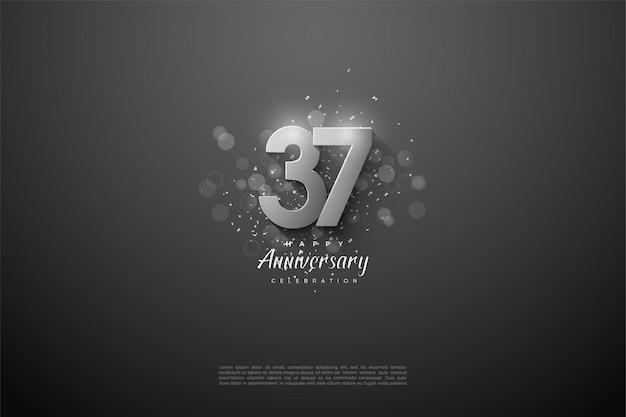 Schwarzer hintergrund mit silbernen zahlen für feierlichkeiten zum 37. jahrestag