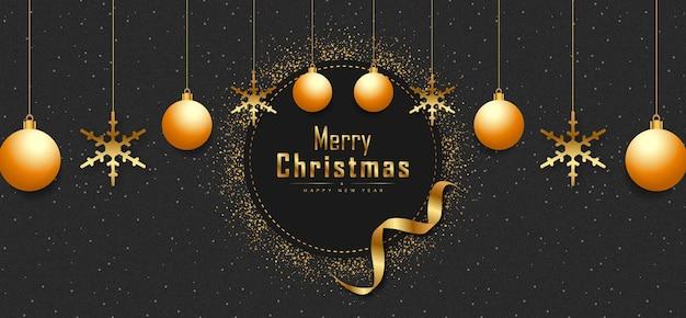 Schwarzer hintergrundbanner der frohen weihnachten mit goldenen realistischen dekorationselementen premium-vektor