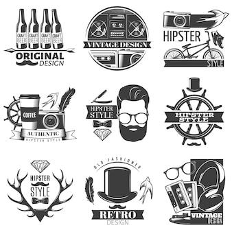 Schwarzer hipster-emblemsatz mit beschreibungen der ursprünglichen vektorillustration des vintage- und retro-design-hipster-stils