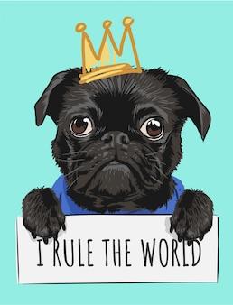 Schwarzer hund der karikatur, der zeichen- und kronenillustration hält