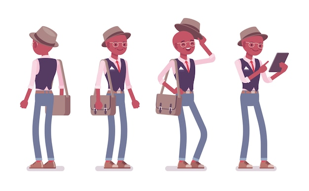 Schwarzer intelligenter intelligenter lässiger mann, der hut und brille stehend trägt. schlanker und modisch eleganter junge mit umhängetasche und tablet. stil cartoon illustration, vorder-, rückansicht