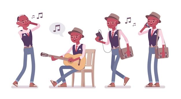 Schwarzer intelligenter kluger lässiger mann, der hut, brille und musik trägt