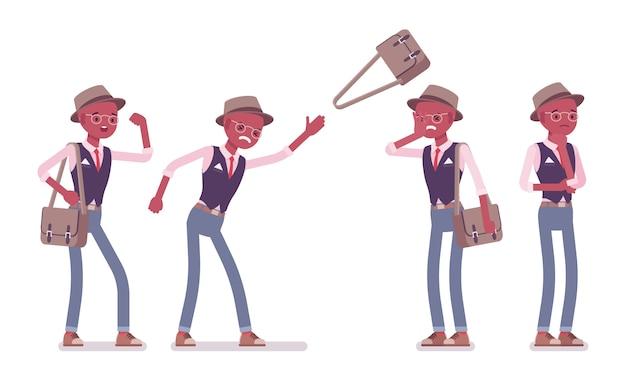 Schwarzer intelligenter kluger lässiger negativer mann, der hut und brille trägt