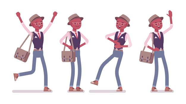 Schwarzer intelligenter kluger lässiger positiver mann, der hut, brille trägt. schlanker und modisch eleganter junge mit umhängetasche in guten gefühlen, stimmung, glücklich und lachend. stil cartoon illustration