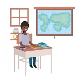 Schwarzer junge des jungen studenten im geographieklassenzimmer