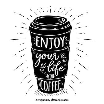 Schwarzer kaffee design mit schriftzug