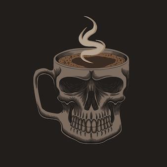 Schwarzer kaffee im schädelbecher
