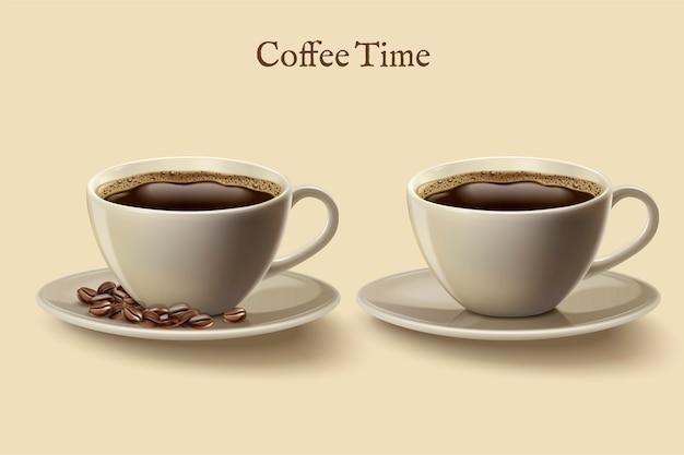 Schwarzer kaffee in der tasse, satz kaffeezeitelemente mit kaffeebohnen in der illustration