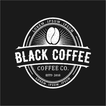 Schwarzer kaffee vintage logo