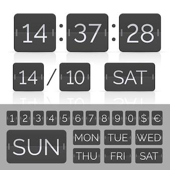 Schwarzer kalender mit timer- und anzeigetafelnummern.