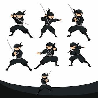 Schwarzer karikatur ninja bereit zum angriff mit klinge in der wirklichen version