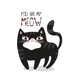 Schwarzer katzencharakterentwurf, kawaii art.