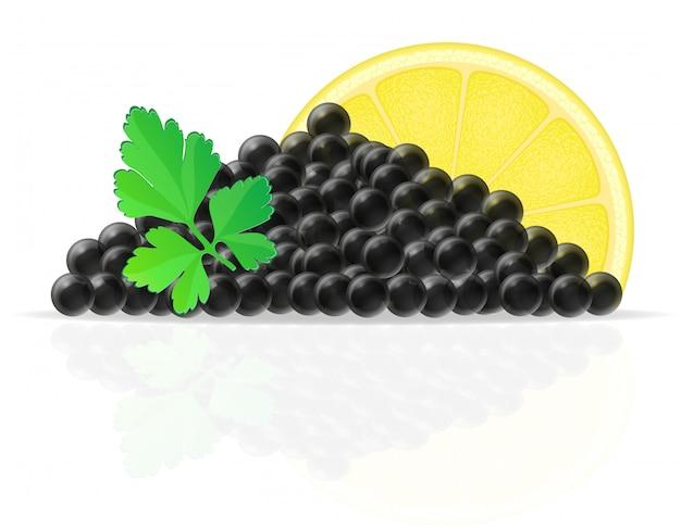 Schwarzer kaviar mit zitronen- und petersilienvektorillustration