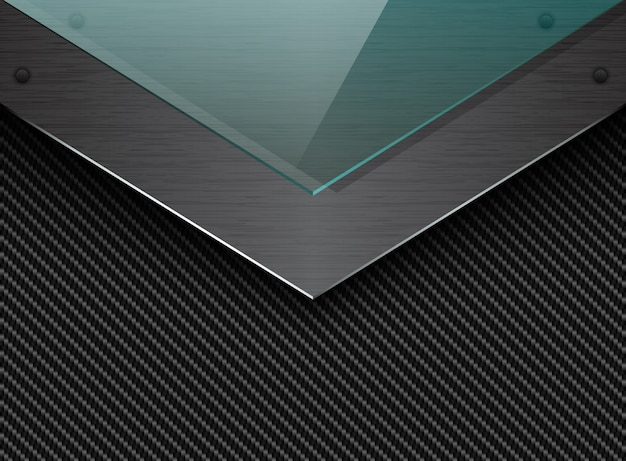 Schwarzer kohlenstofffaserhintergrund mit ecke gebürsteter metallplatte und grünem transparentem glas. industrieller eleganter pfeil