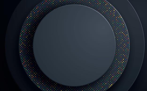 Schwarzer kreiszusammenfassungshintergrund mit buntem funkeln