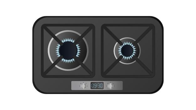 Schwarzer küchenherd mit draufsicht. inklusive gasherd. moderner backofen für die küche im realistischen stil. isoliert. vektor.